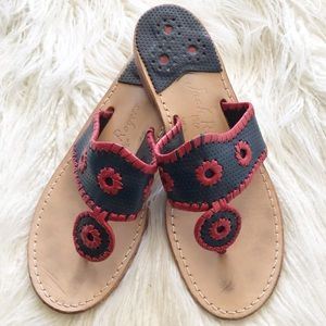 "JACK ROGERS ""Navajo"" red and navy sandals"